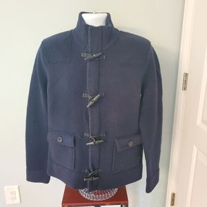 NWT GAP Navy Wool Zip Up Sweater Clasp Button